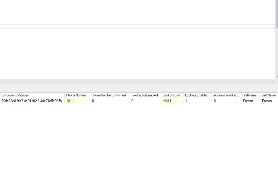 User in the database. We only store the FirstName and LastName. (Viewed using SQL Server Management Studio).